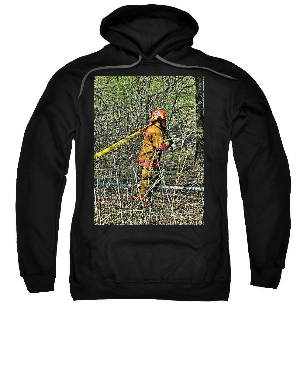 Firefighting Sweatshirt featuring the photograph Hose Advance by Tommy Anderson