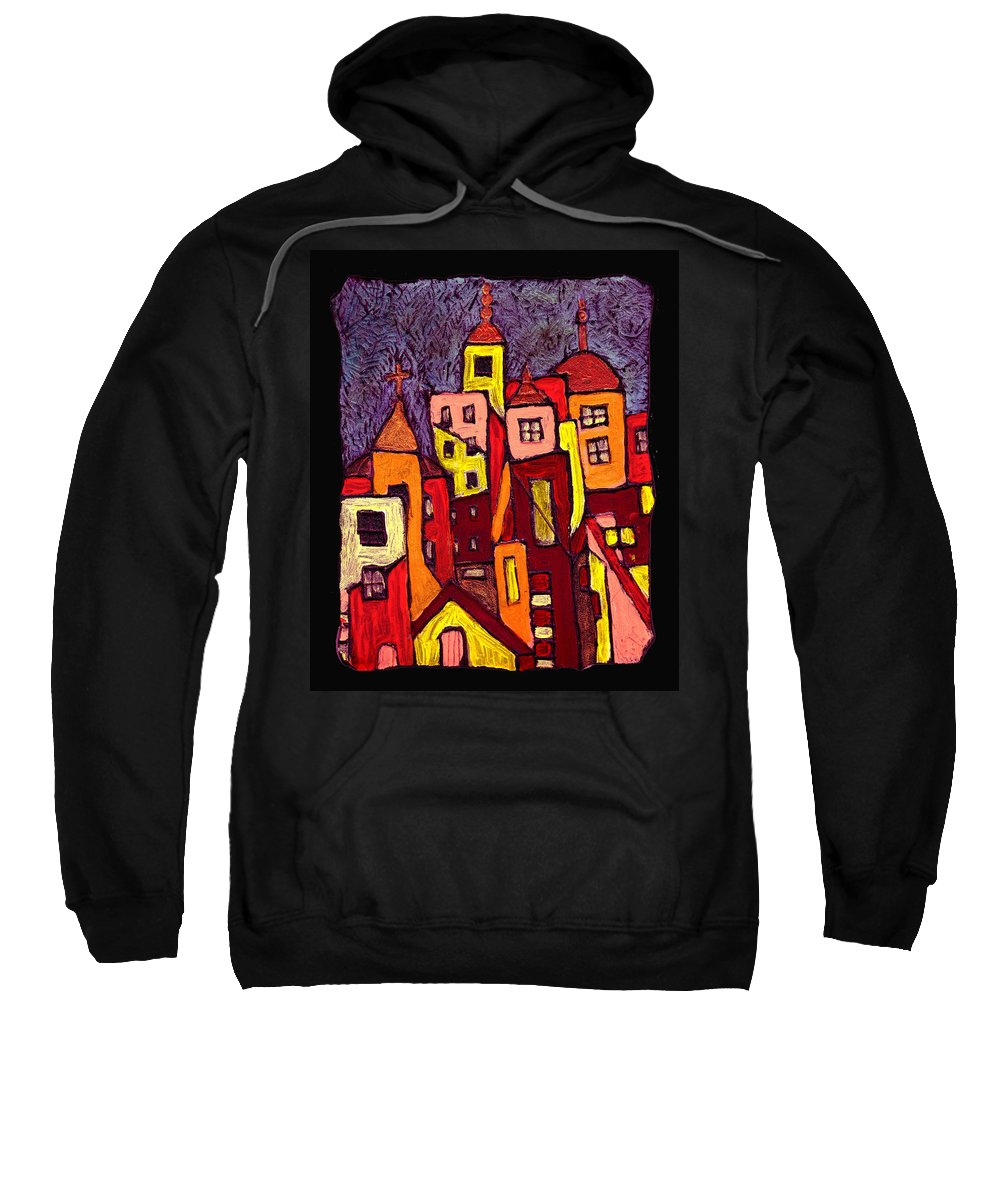 City Scapes Sweatshirt featuring the painting Hot Night In The City by Wayne Potrafka