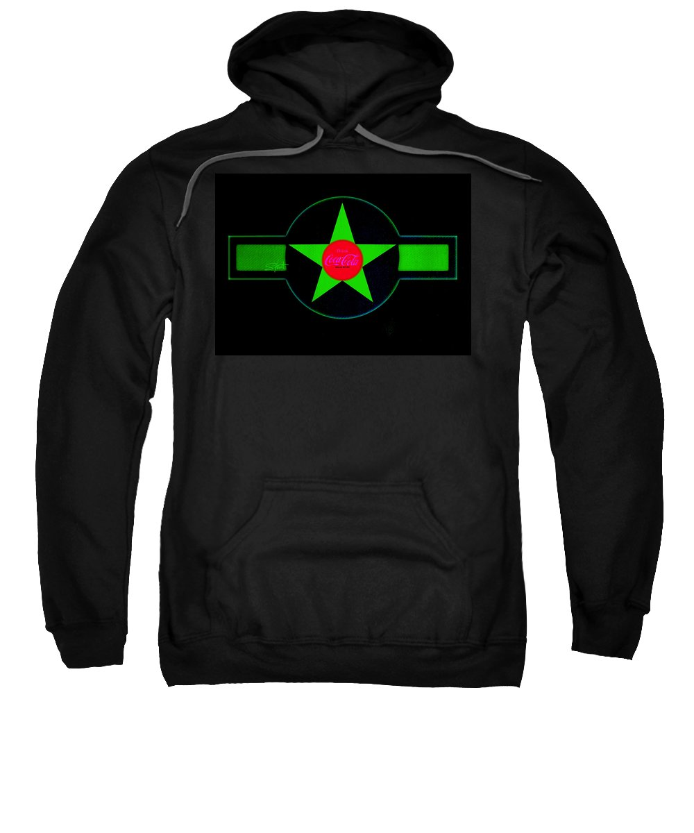 Label Sweatshirt featuring the painting Hot Red On Cool Green by Charles Stuart
