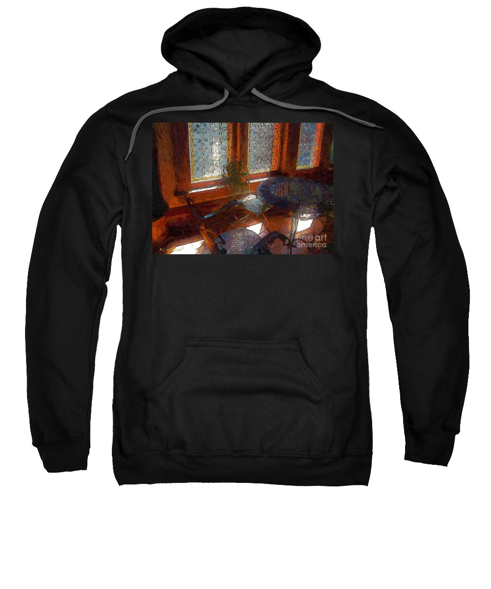 Chairs Sweatshirt featuring the painting Hot Sun On Wrought Iron by RC DeWinter