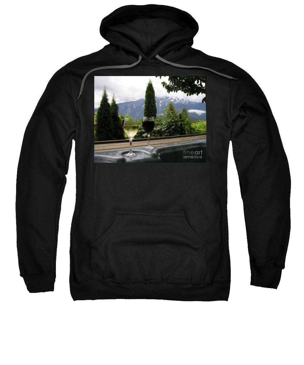 Hot Tub Sweatshirt featuring the photograph Hot Tub And Wine by Robert Meanor