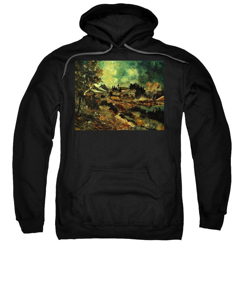 Landscape Sweatshirt featuring the painting Houdremont by Pol Ledent