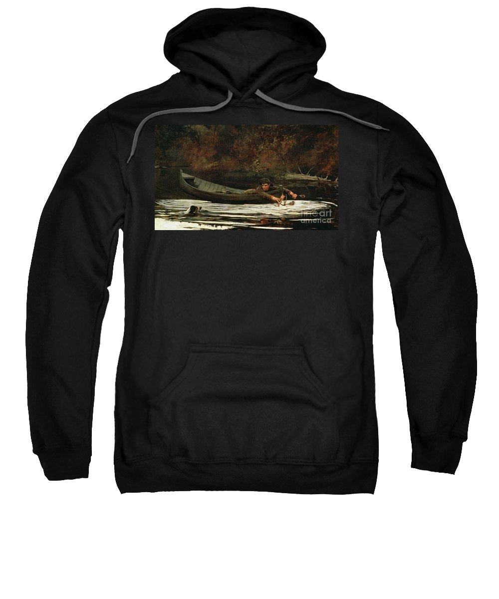 Hound And Hunter Sweatshirt featuring the painting Hound And Hunter by Winslow Homer