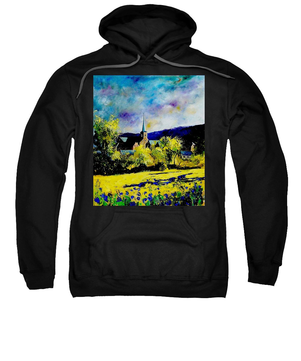 Poppies Sweatshirt featuring the painting Hour Village Belgium by Pol Ledent