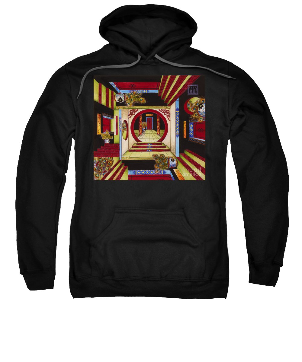 Escher Sweatshirt featuring the painting House of Mirrors by Melissa A Benson
