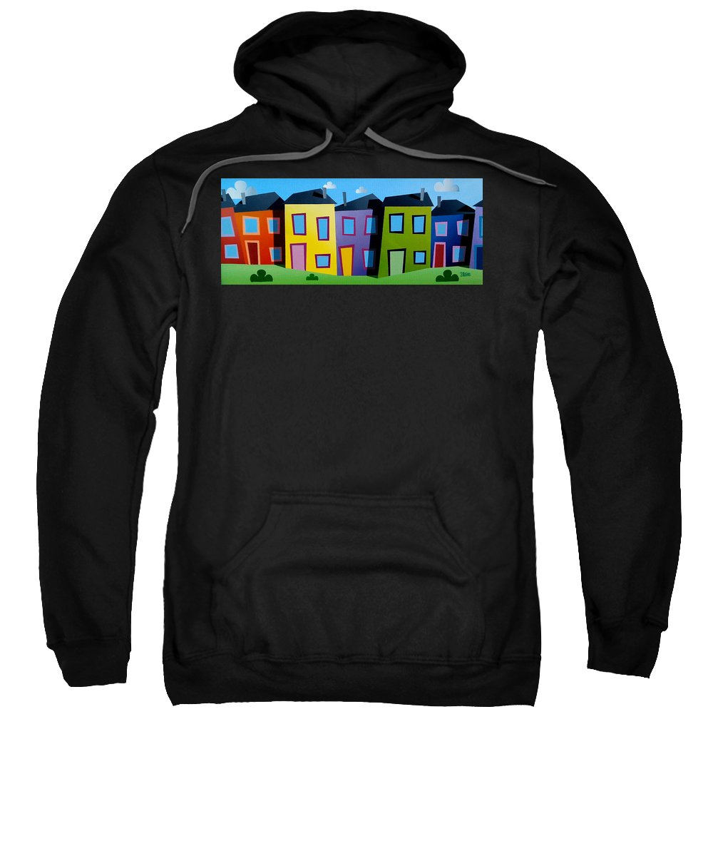 Dylan Cotton Sweatshirt featuring the painting House Party 21 by Dylan Cotton