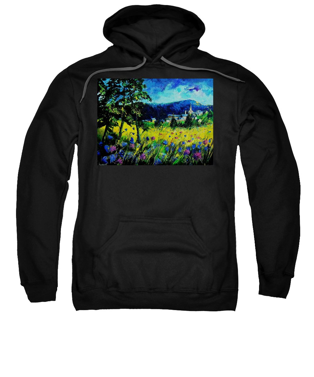 Flowers Sweatshirt featuring the painting Houyet 68 by Pol Ledent