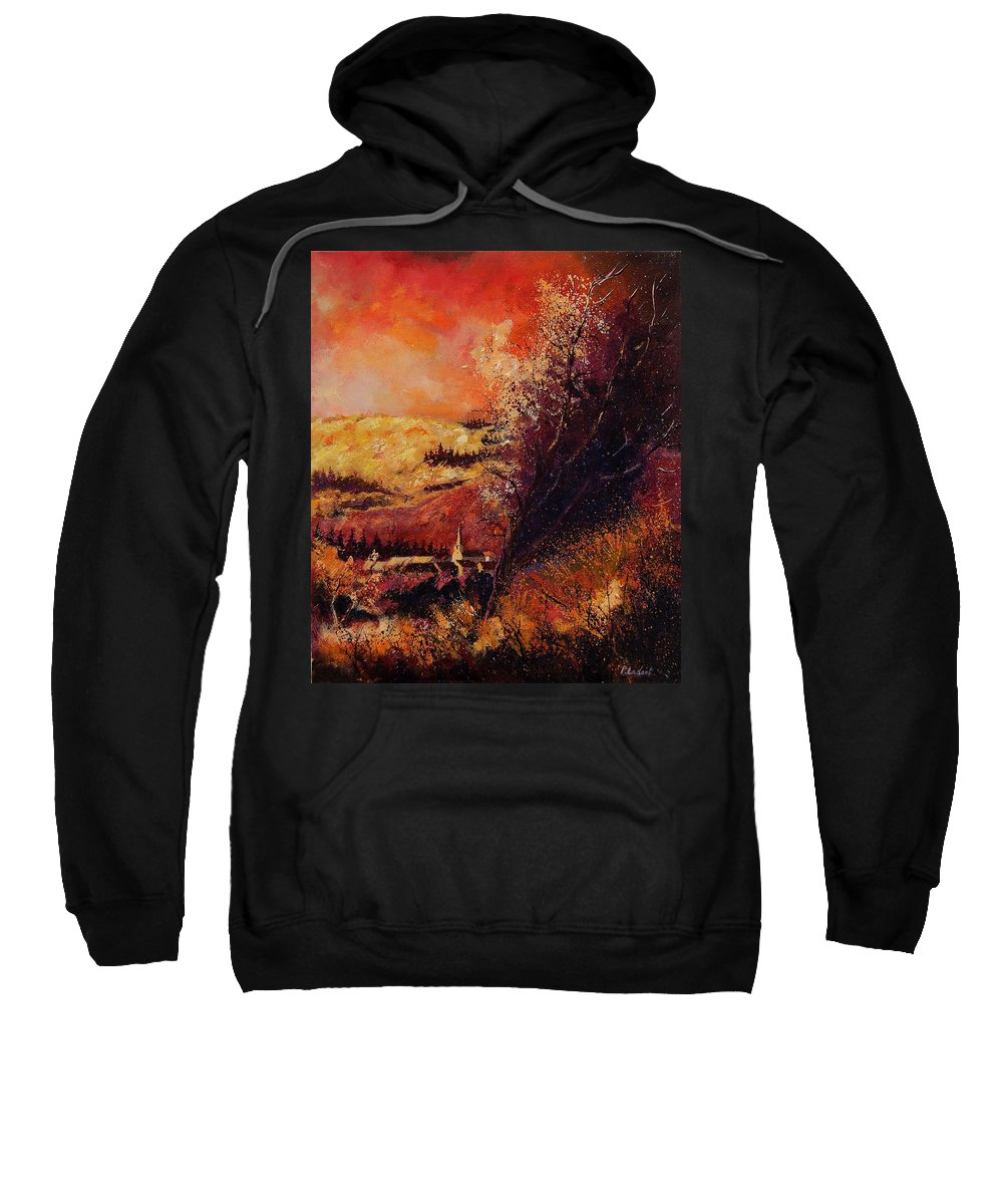 Tree Sweatshirt featuring the painting Houyet In Fall by Pol Ledent