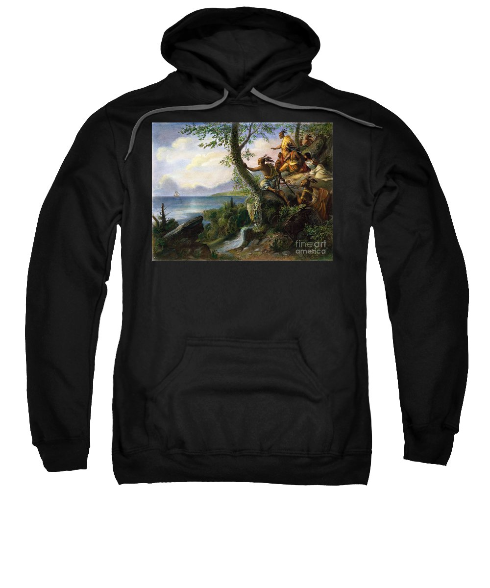 1609 Sweatshirt featuring the painting Hudson: New York, 1609 by Granger
