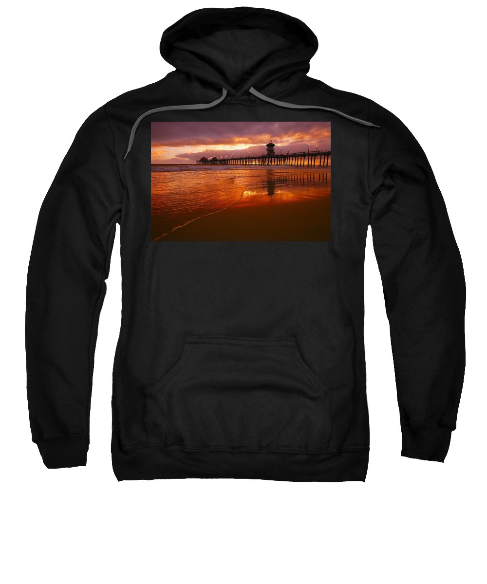 Bridge Sweatshirt featuring the photograph Huntington Beach At Sunset by Don Hammond