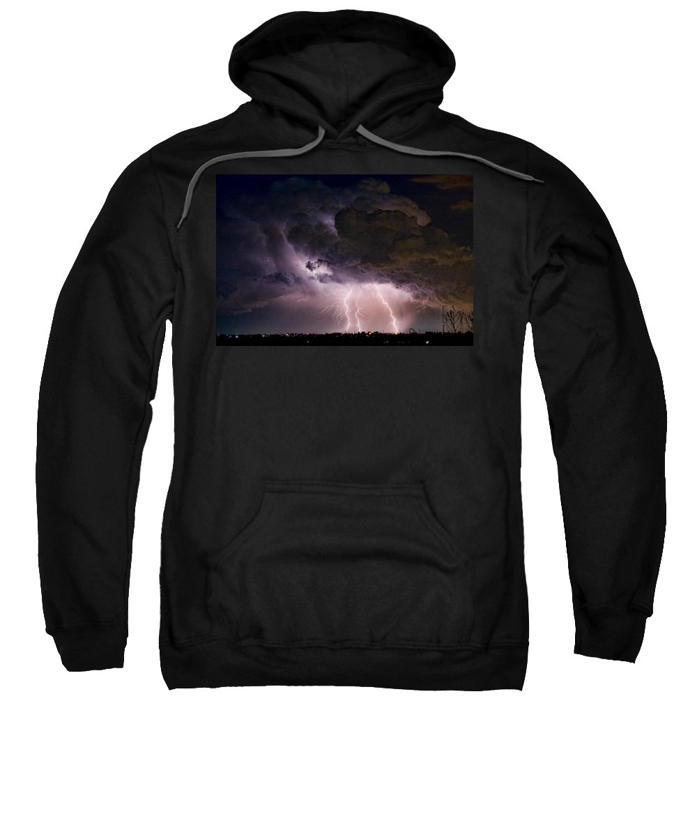 Lightning Sweatshirt featuring the photograph Hwy 52 - Hwy 287 Lightning Storm Image 29 by James BO Insogna