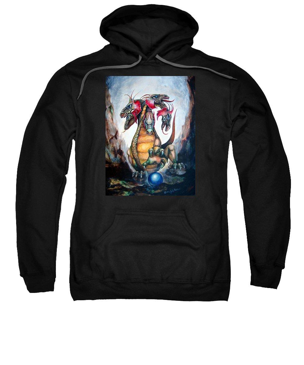 Hydra Sweatshirt featuring the painting Hydra by Leyla Munteanu