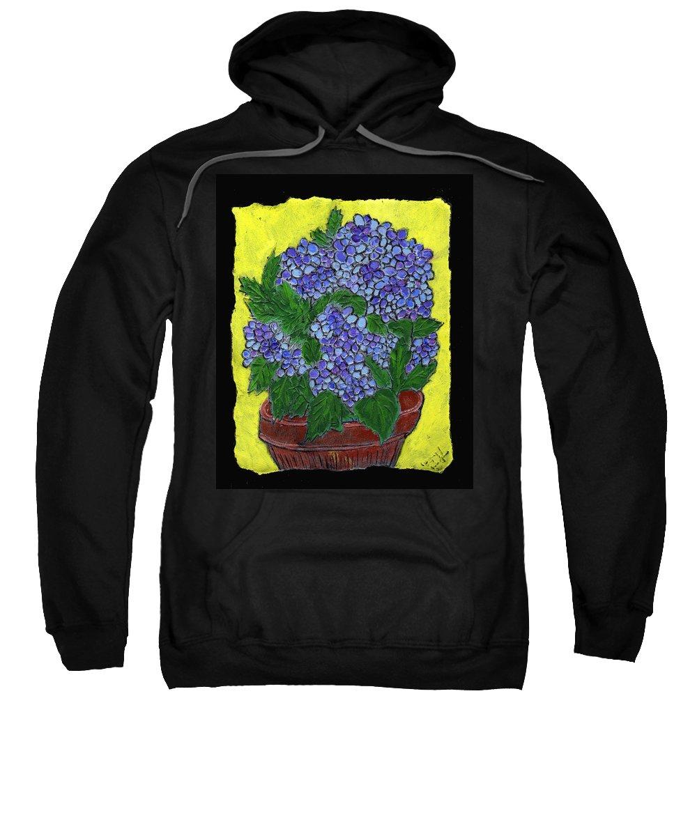 Flower Sweatshirt featuring the painting Hydrangea In A Pot by Wayne Potrafka