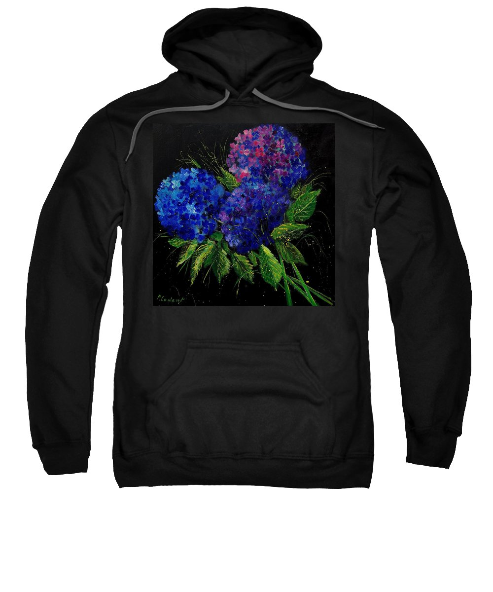 Flowers Sweatshirt featuring the painting Hydrangeas 66 by Pol Ledent