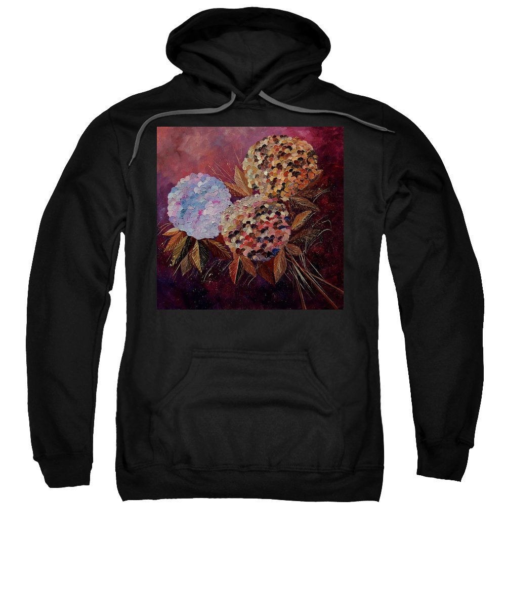 Flowers Sweatshirt featuring the painting Hydrangeas 880130 by Pol Ledent