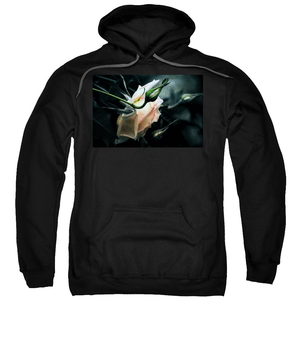 Rose Sweatshirt featuring the digital art I Am Your Ghost Of A Rose by Georgiana Romanovna