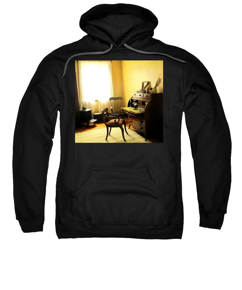 Antique Sweatshirt featuring the photograph I Will Be Right Back by Ian MacDonald