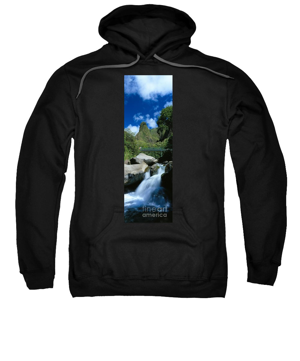 Blue Sweatshirt featuring the photograph Iao Needle And Creek by Carl Shaneff - Printscapes