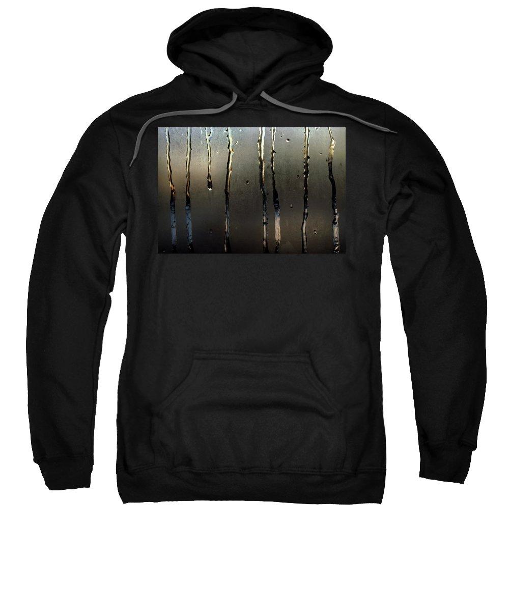 Macro Sweatshirt featuring the photograph Ice On Window 2 by Lee Santa