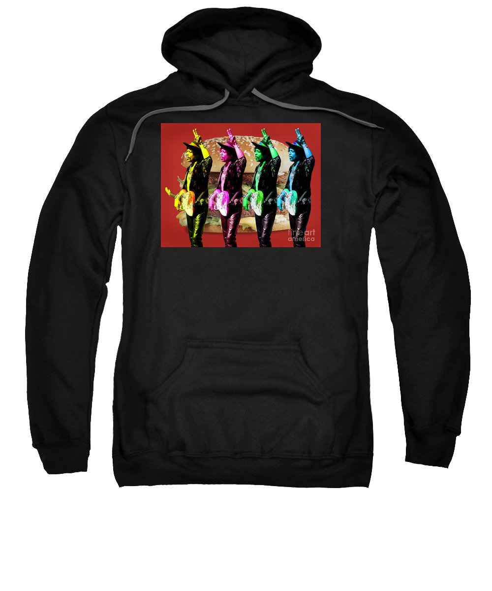 Jimi Sweatshirt featuring the digital art Iconic Experience by Keith Dillon