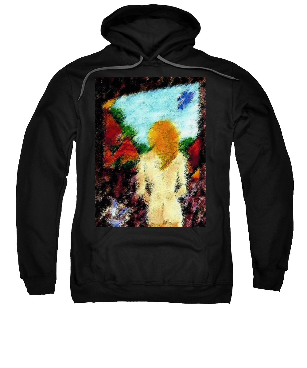 Window Sweatshirt featuring the painting If You Love Me Love Me Whole by Madalena Lobao-Tello