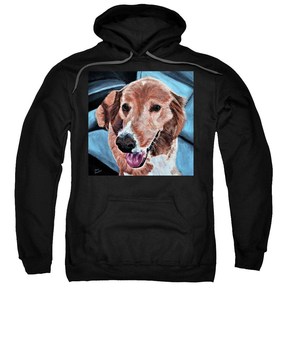 Dog Portrait Sweatshirt featuring the painting Iggy by Stan Hamilton
