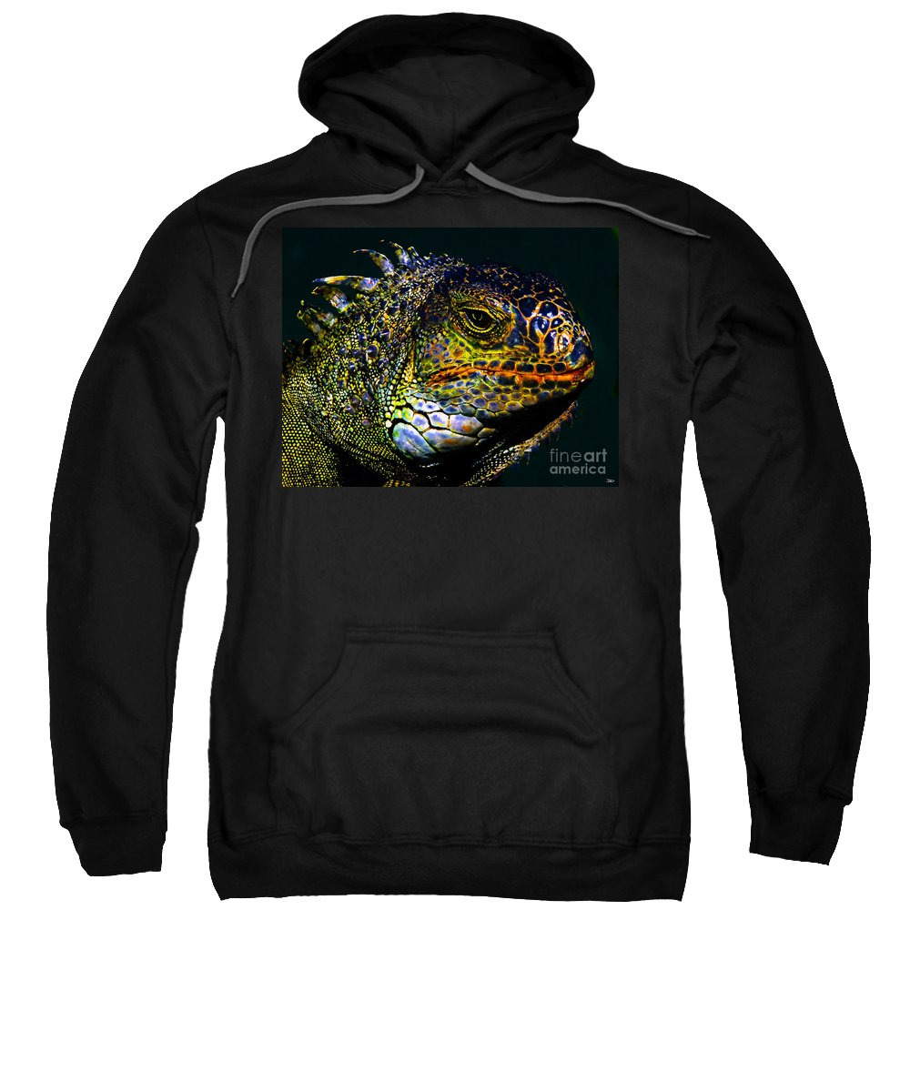 Art Sweatshirt featuring the painting Iguana by David Lee Thompson