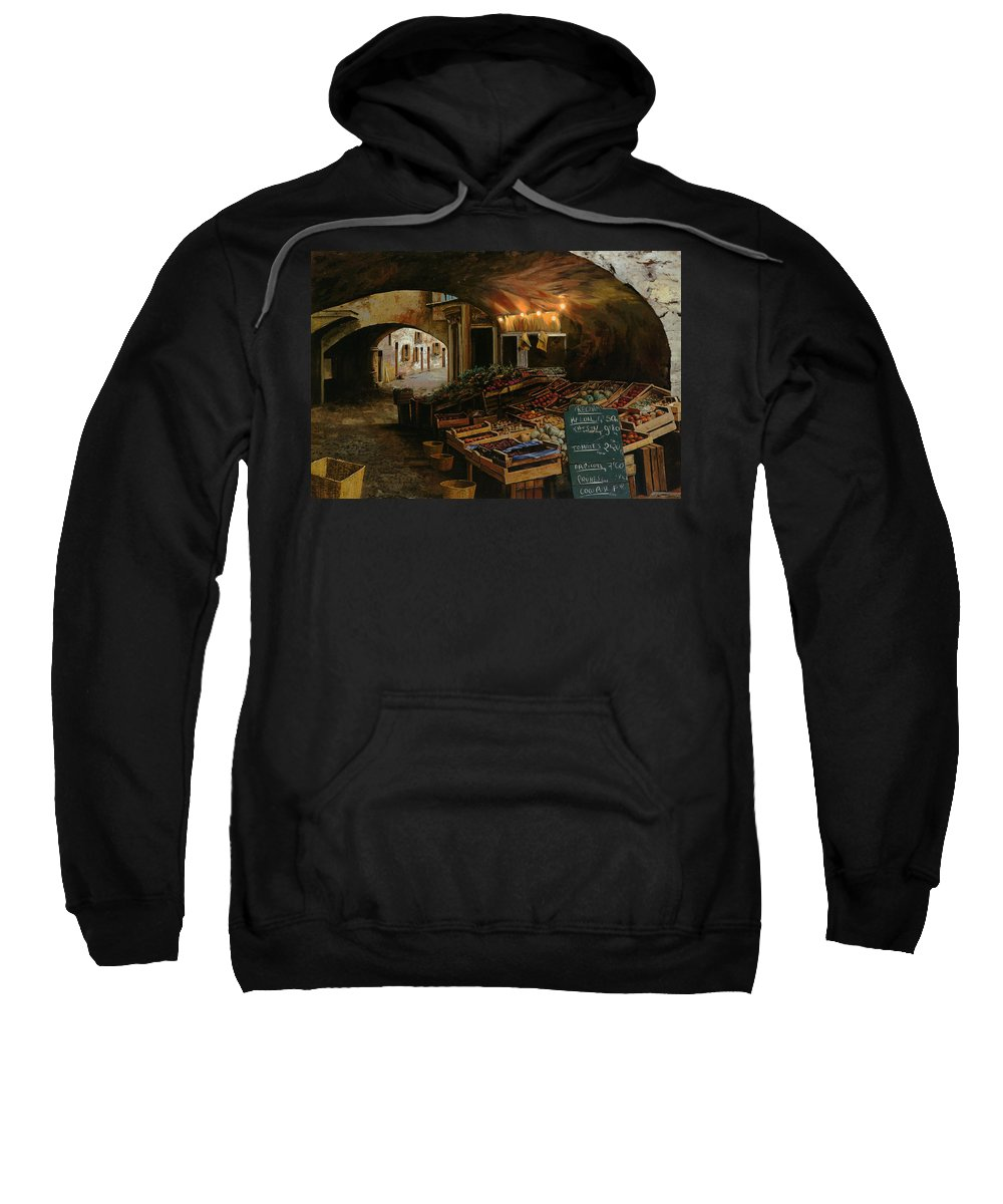 Market Sweatshirt featuring the painting Il Mercato Francese by Guido Borelli