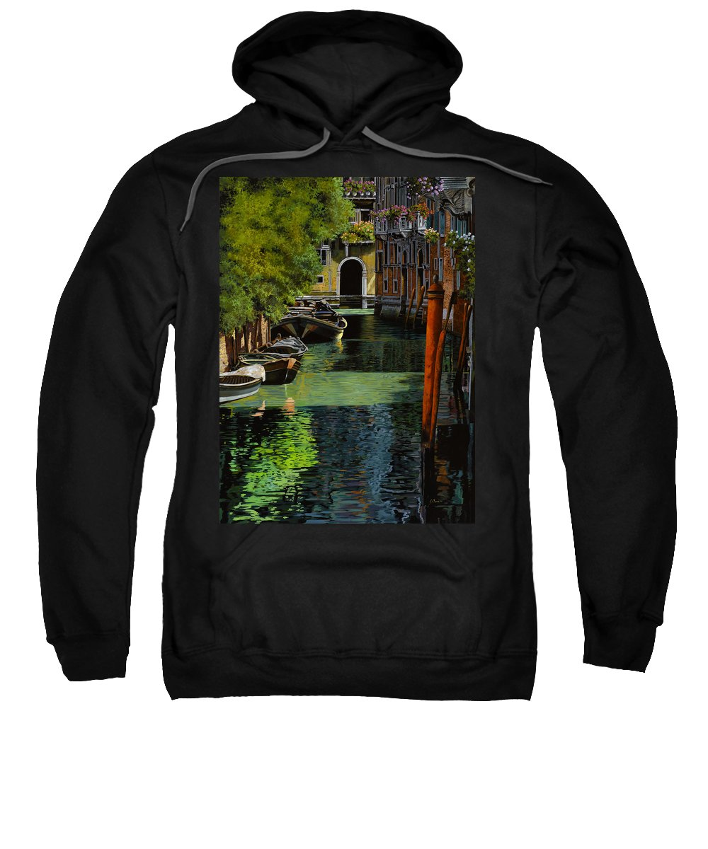 Venice Sweatshirt featuring the painting il palo rosso a Venezia by Guido Borelli