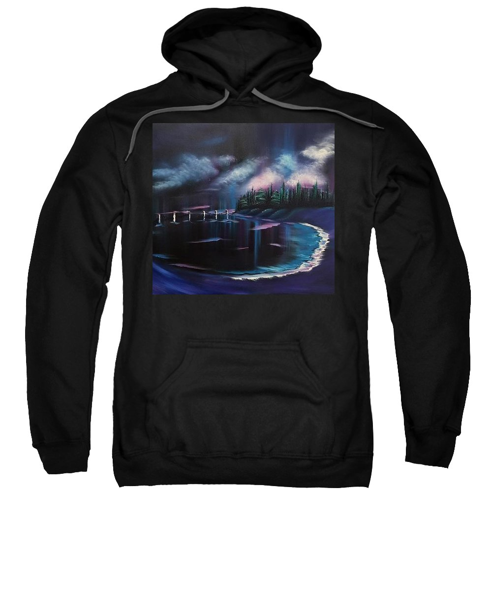 Sea Side Sweatshirt featuring the painting Imaginary Sea by Nadine Westerveld