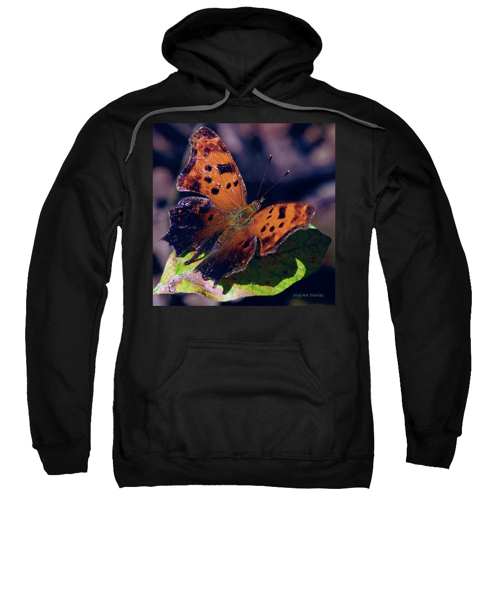 Butterfly Sweatshirt featuring the digital art Imperfect Satyr Comma by DigiArt Diaries by Vicky B Fuller