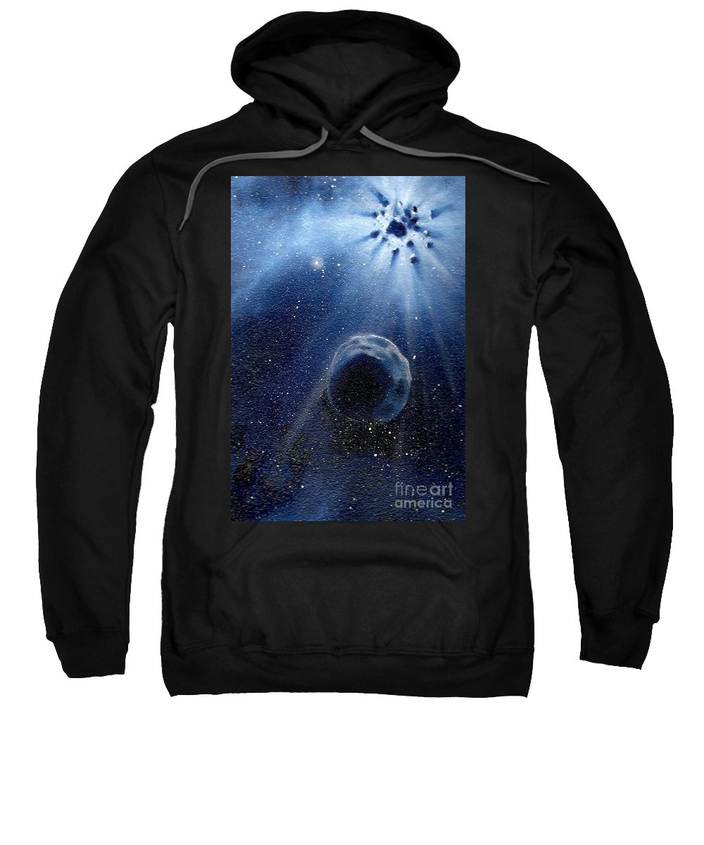 Outerspace Sweatshirt featuring the painting Impressive Impact by Murphy Elliott