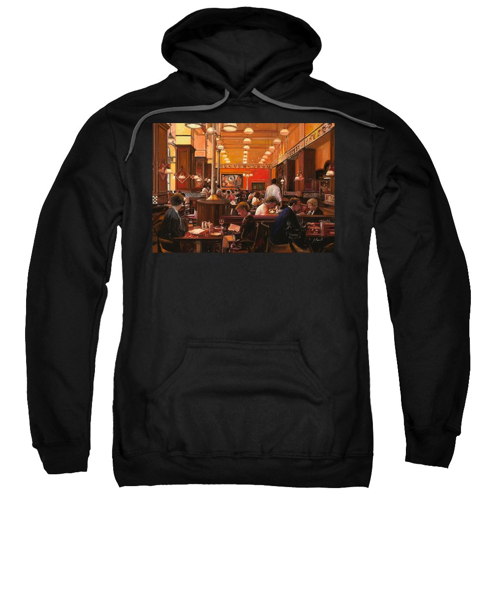 Coffee Shop Sweatshirt featuring the painting In Birreria by Guido Borelli