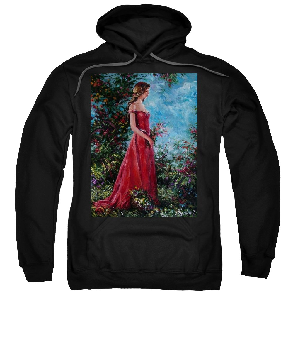 Figurative Sweatshirt featuring the painting In Summer Garden by Sergey Ignatenko