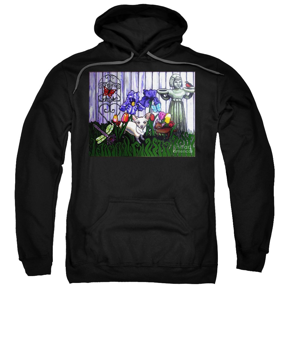 Dog Sweatshirt featuring the painting In The Chihuahua Garden Of Good And Evil by Genevieve Esson
