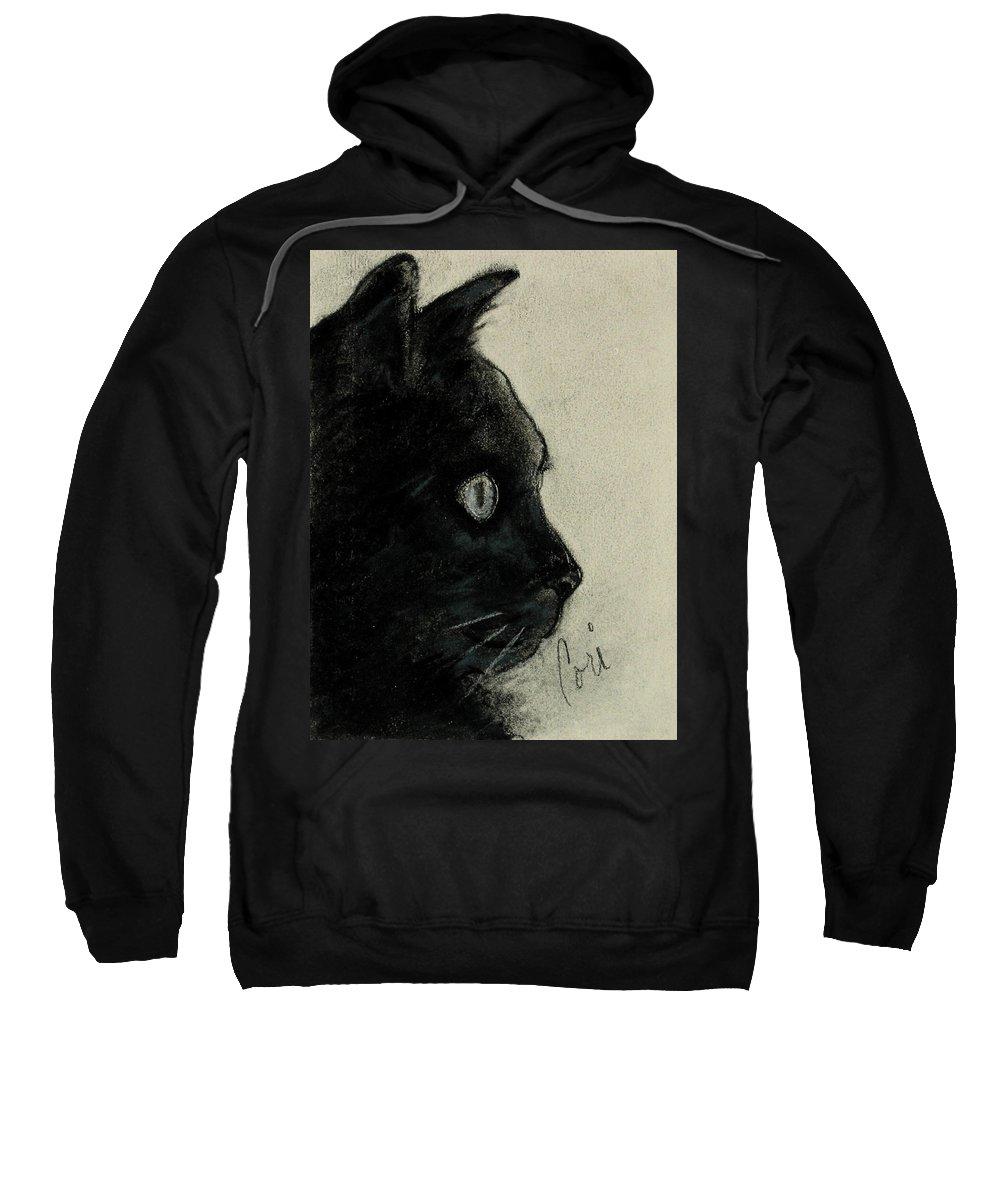 Cat Sweatshirt featuring the drawing In The Dark by Cori Solomon