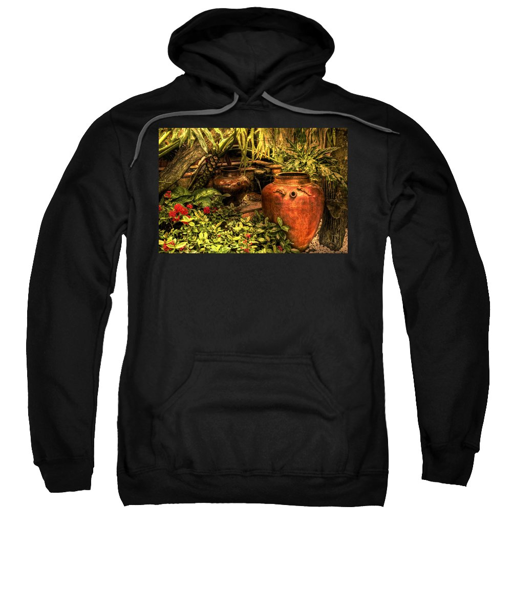 Pots Sweatshirt featuring the photograph In The Garden by Charuhas Images