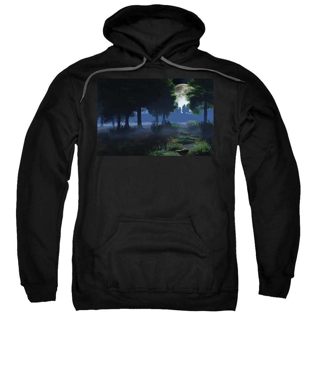 Fog Sweatshirt featuring the digital art In The Moon Light by Max Steinwald