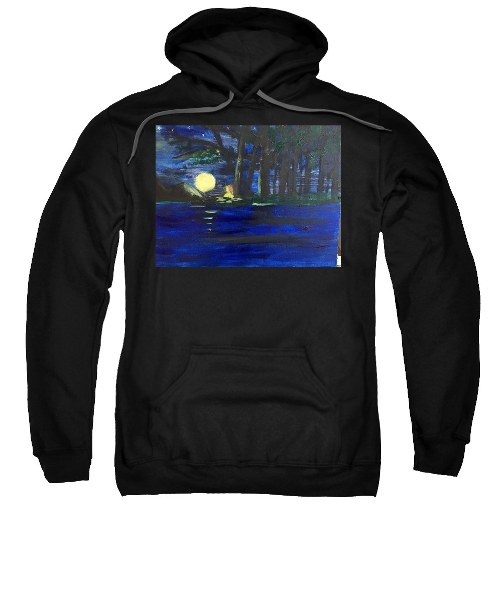 Trees Sweatshirt featuring the painting In The Moonlight by Nicole Poirier