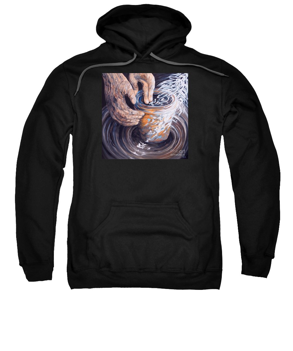 Christian Sweatshirt featuring the painting In The Potter's Hands by Eloise Schneider Mote
