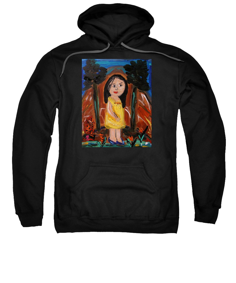 Girl Sweatshirt featuring the painting In The Woodlands by Mary Carol Williams