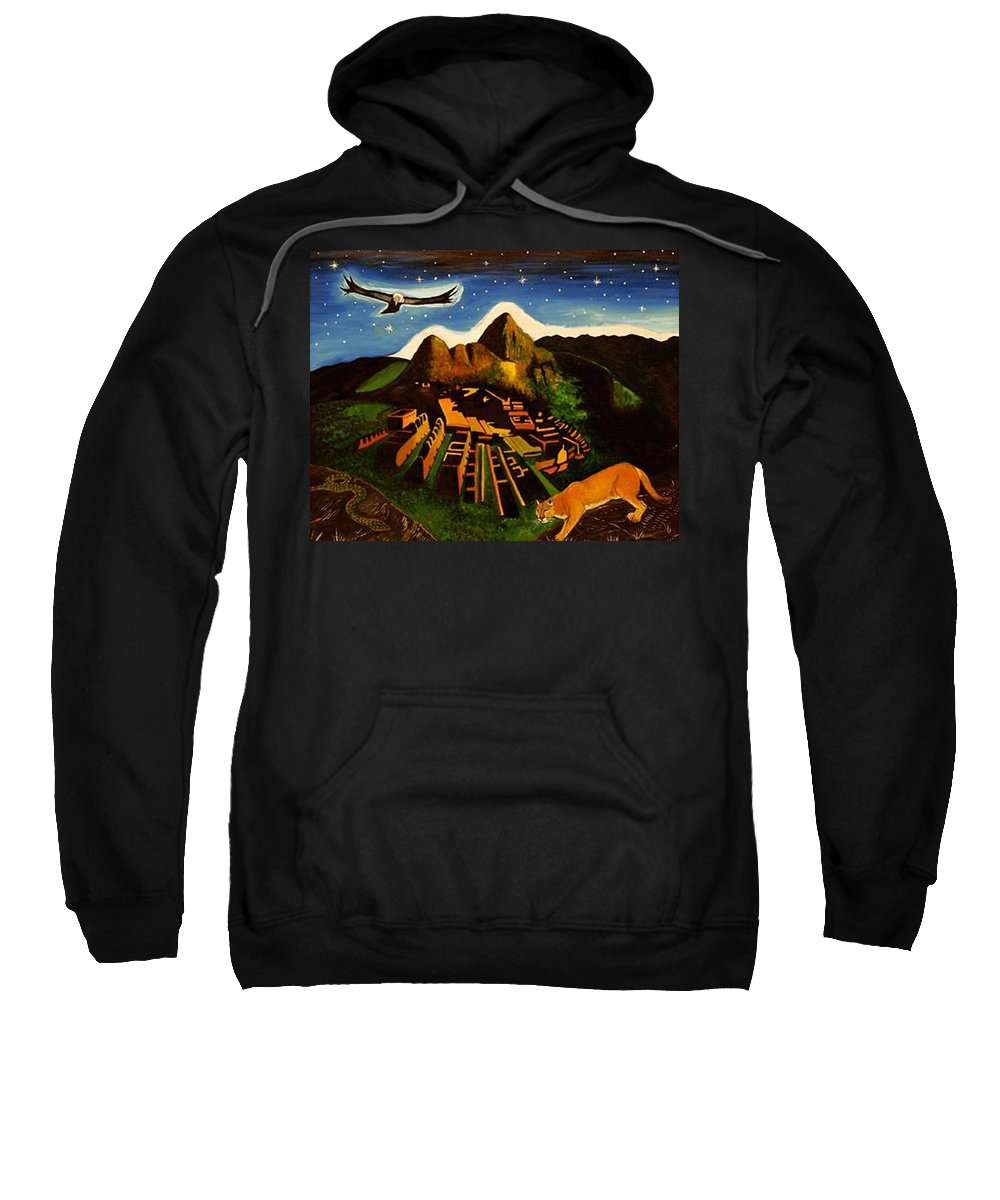 Machu Picchu Sweatshirt featuring the painting Inca's Trilogy by Gustavo Oliveira