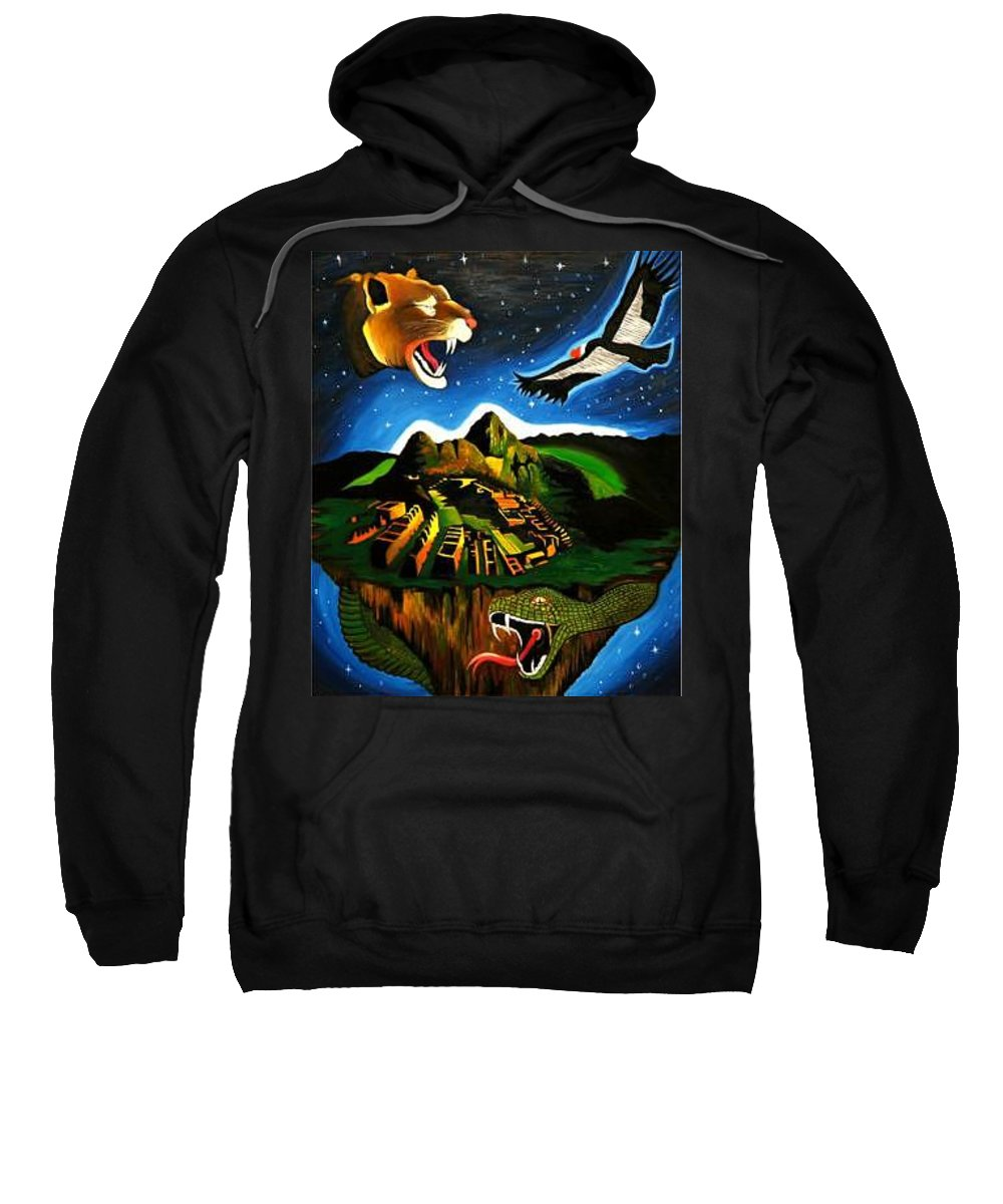 Machu Picchu Sweatshirt featuring the painting Inca's Trilogy II by Gustavo Oliveira