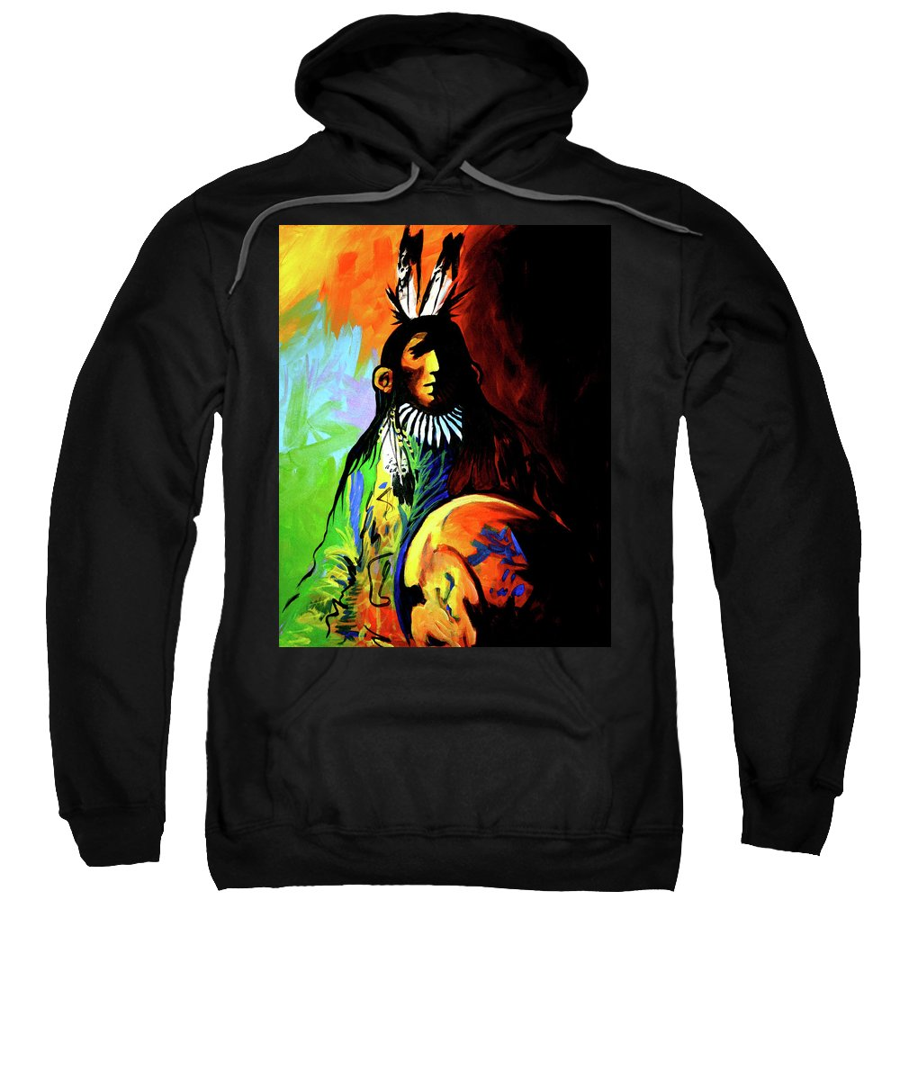 Native American Sweatshirt featuring the painting Indian Shadows by Lance Headlee
