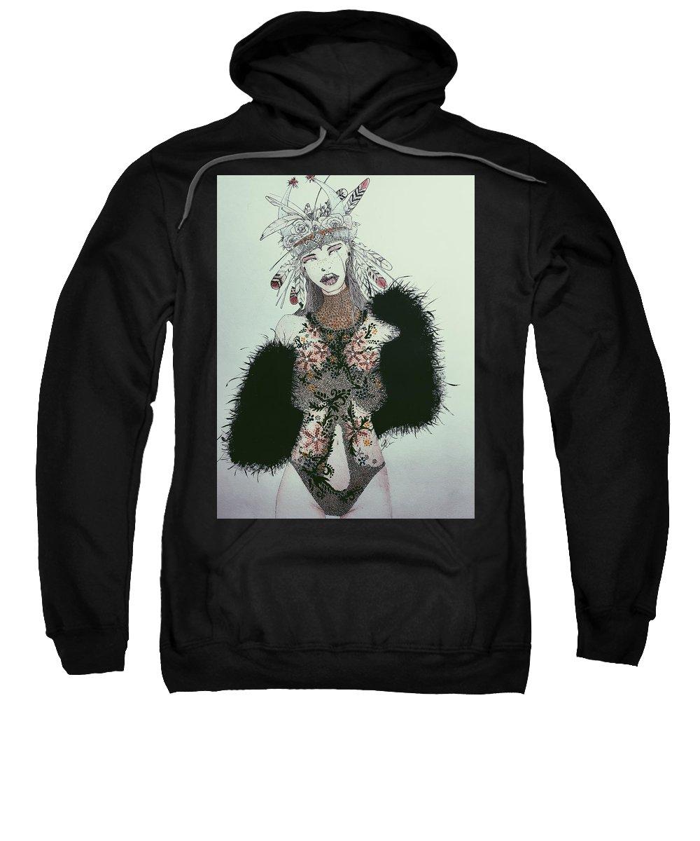 Fashion Sweatshirt featuring the painting Indigo by Geovanny Corona