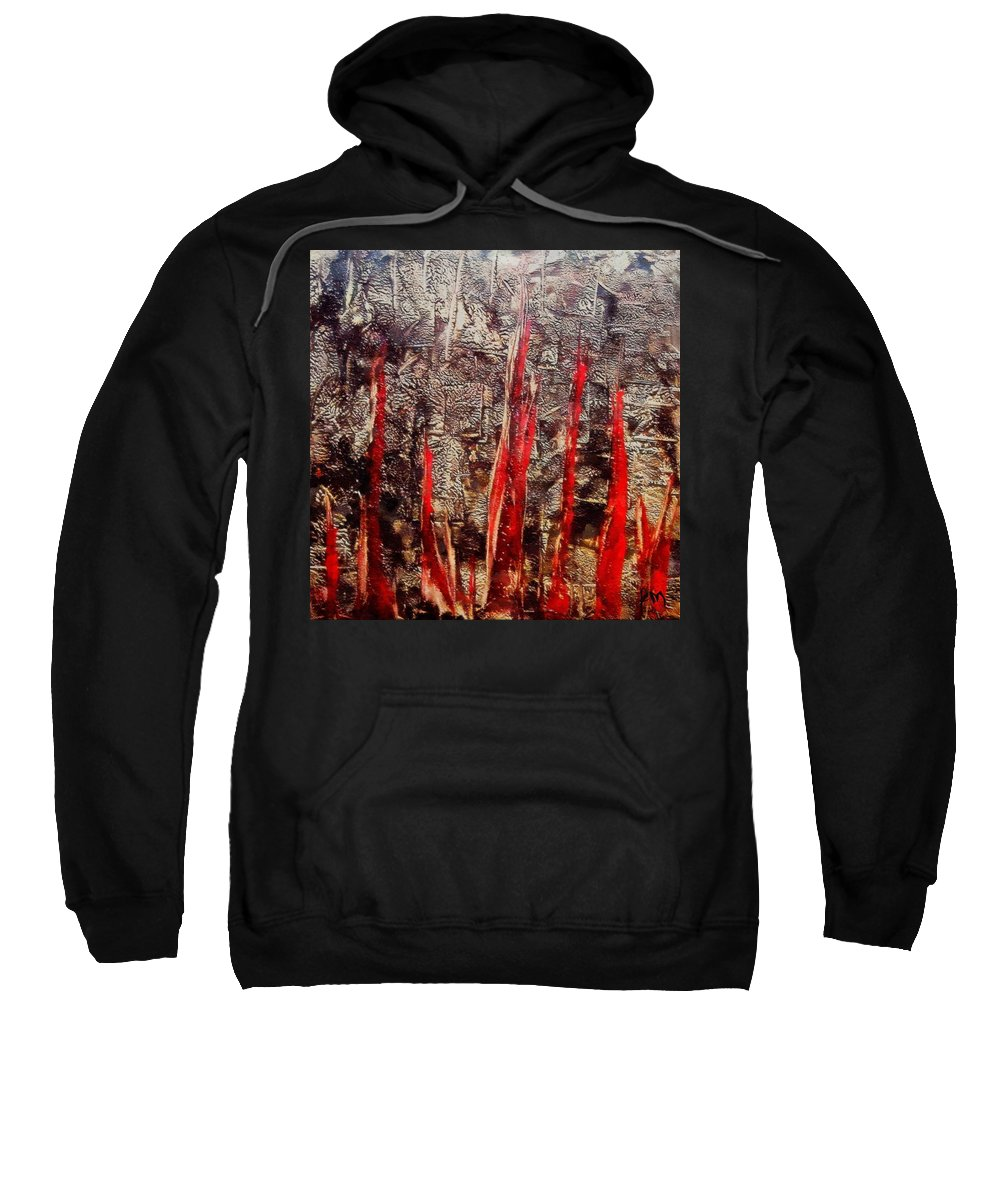Inferno Sweatshirt featuring the painting Inferno by Dragica Micki Fortuna