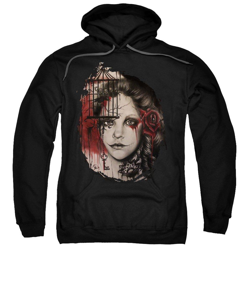 Woman Sweatshirt featuring the mixed media Inner Demons by Sheena Pike