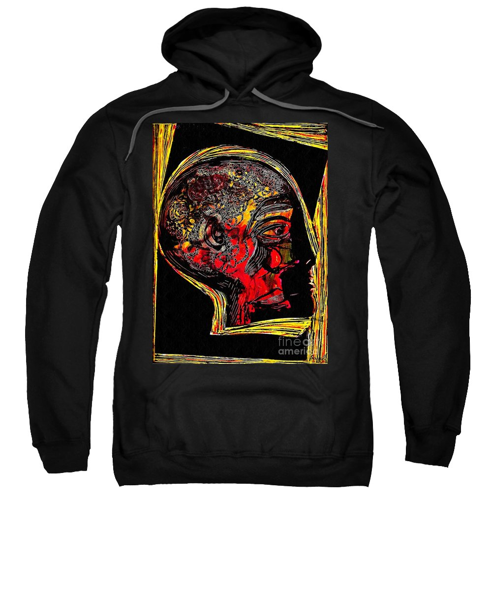 Head Sweatshirt featuring the mixed media Inner Man by Sarah Loft