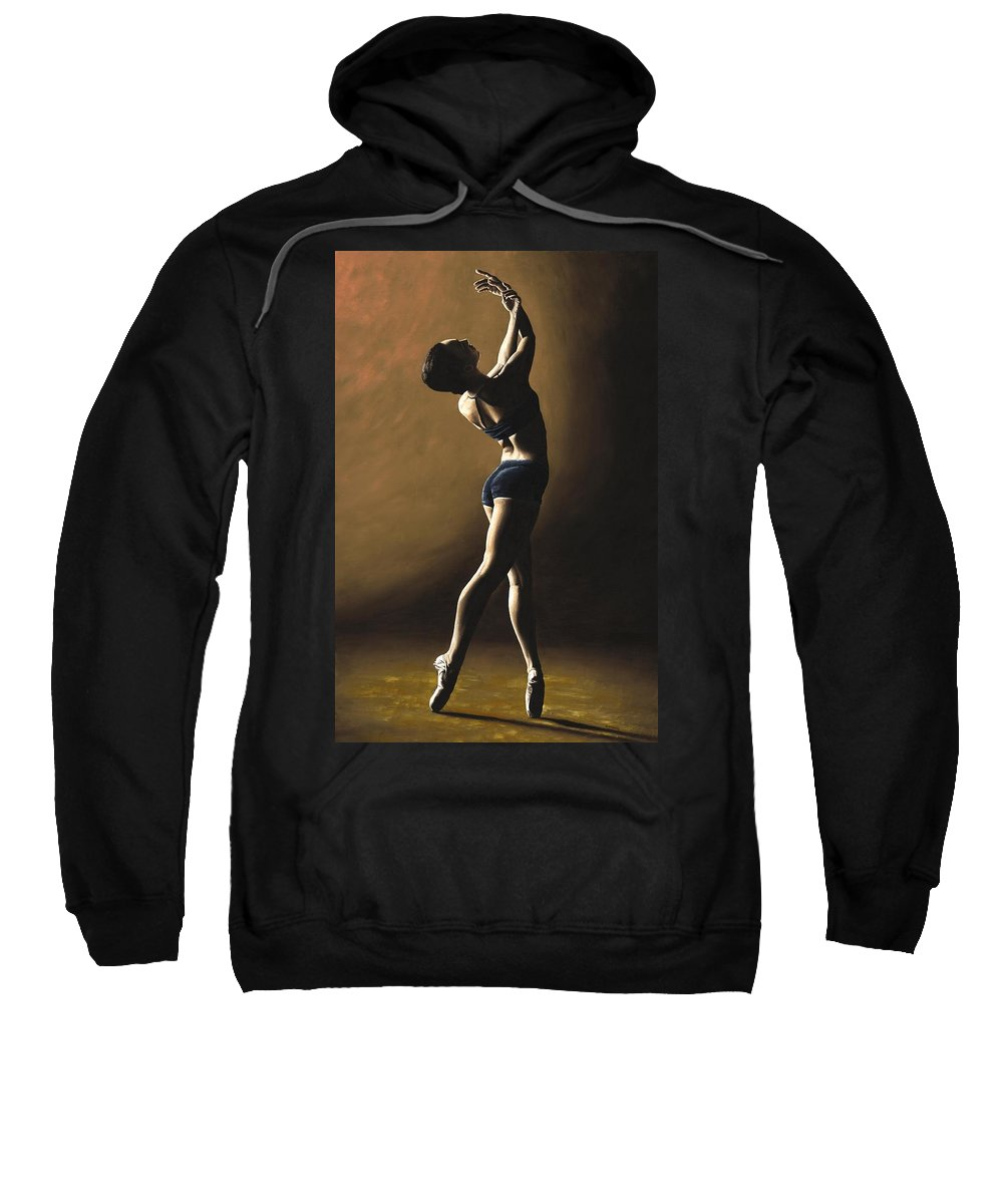 Dance Dancer Dancing Modern Female Woman Lady Girl Pointe Shadow Light Beauty Beautiful Young Art Sweatshirt featuring the painting Inner Sanctuary by Richard Young