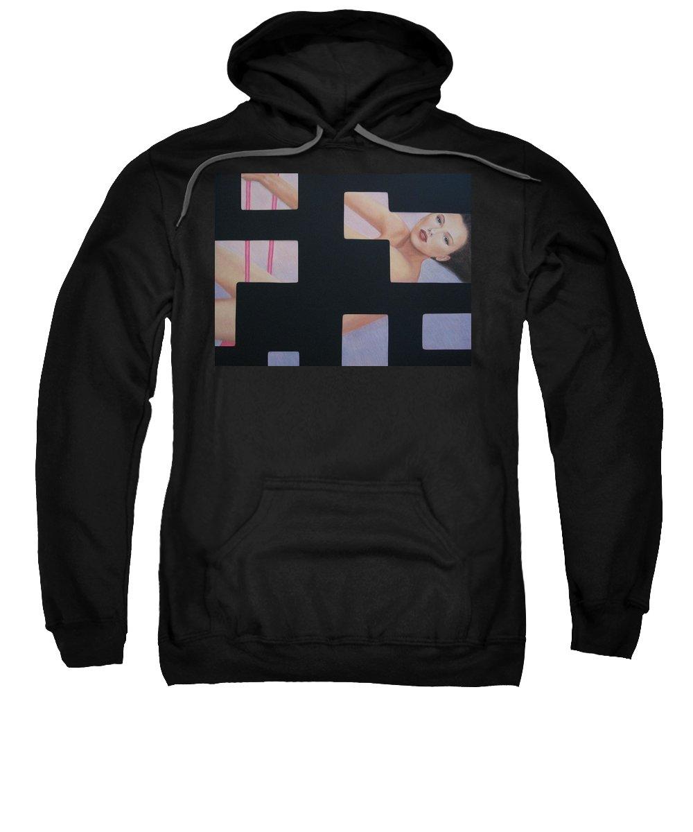 Woman Sweatshirt featuring the painting Innocent Flirtation by Lynet McDonald